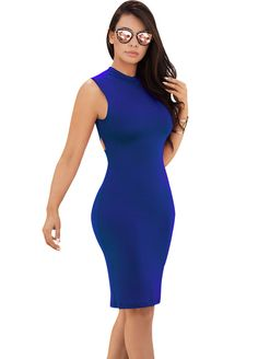 Crisscross Back Sleeveless Bodycon Dress_Midi Dress_Dresses_Sexy Lingeire | Cheap Plus Size Lingerie At Wholesale Price | Feelovely.com