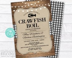 Crawfish Boil Invitations Party Invite Black & White Couple's Shower DOWNLOAD Wood Engagement Couple's Shower Crab Dinner Printable WCWE033 Printing Websites, Printing Services, Online Printing, Engagement Invitations, Party Invitations, Invite, Black And White Couples, Black White, Event Page