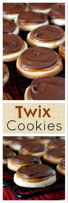Twix Cookies – shortbread cookies topped with caramel and chocolate – they taste like a Twix candy bar! Twix Cookies – shortbread cookies topped with caramel and chocolate – they taste like a Twix candy bar! Twix Cookies, Cookies Et Biscuits, Shortbread Cookies, Chocolate Cookies, Chocolate Chips, Twix Cake, Candy Bar Cookies, Chocolate Caramels, Cool Cookies