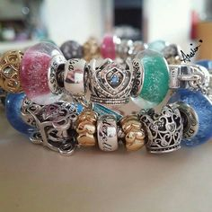 >>>Pandora Jewelry OFF! >>>Visit>> Colorful Disney muranos by Amelia Disney Pandora Bracelet, Pandora Charms Disney, Pandora Hearts, Disney Jewelry, Pandora Bracelets, Pandora Jewelry, Pandora Disney Collection, I Love Jewelry, Bracelet Designs