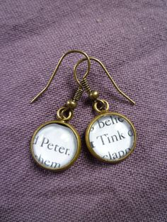 """Peter Pan Earrings- """"Peter and Tink""""; Book Page Jewelry, Antique Bronze via Etsy. YES!!!!"""