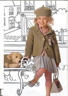 moss stitch cardigan and hat measures 4-6-8-10 years- free pattern in Italian