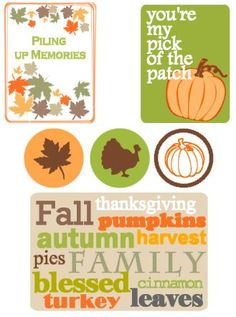 Free Fall Filler Cards and Labels from Crafty Snippets Project Life 6x8, Project Life Freebies, Project Life Cards, Pocket Scrapbooking, Scrapbook Paper, Scrapbook Layouts, Fall Projects, Projects To Try, Fall Crafts