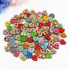 2015 New 100 Multicolor Heart Shaped 2 Holes Wood Sewing Buttons Scrapbooking Knopf Bouton Christmas Gift 6LFK