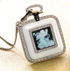 Rare Platinum,enamel.diamond and Ivory Agate cameo pendant watch