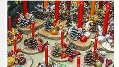 Christmas decorations with pine cones wood candles and various ornaments exposed on sale Stock Photo- Millions of Creative Stock Photos, Vectors, Videos and Music Files For Your Inspiration and Projects. Pictures Of Christmas Decorations, Pine Cone Christmas Decorations, Pine Cone Christmas Tree, Easy Christmas Crafts, Christmas Candles, Christmas Wood, Christmas Centerpieces, Christmas Pictures, Homemade Christmas