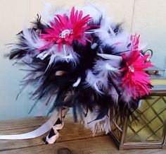 Feather & Gerber Daisies Flower Bridal Bouquet - Fuchsia, Hot Pink, Black, White Wedding Bouquets - Custom Crystal Daisy Colors Large. $65.00, via Etsy.