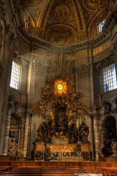 Bernini's starburst dove window. Saint Peter's Basilica, Vatican City.