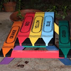 Child Sized Picnic Table, Gaint Colors by vivyscloset on Etsy https://www.etsy.com/listing/164798590/child-sized-picnic-table-gaint-colors