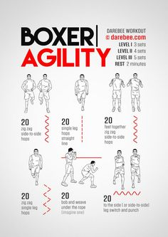 The Boxer agility workout is part of the Darebee Boxing Training themed week. Boxing Training Workout, Boxer Workout, Kickboxing Workout, Gym Workout Tips, Workout Challenge, At Home Workouts, Mma Training, Muay Thai Training Workouts, Boxing Workout With Bag