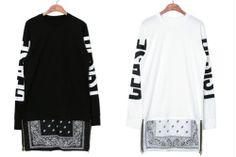 New Paisley Side Zip Bandana Ceasedesist Graphic Long Sleeve T Shirt Black White   eBay