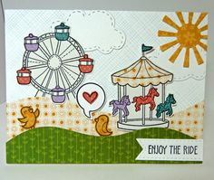 Lawn Fawn - Admit One, A Birdie Told Me, Bright Side Paper _ Amazing scene card!! Cards-by-the-Sea: Three Cards for Today