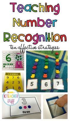 This is my go-to post for activities and games to teach number recognition. Preschool and kindergarten friendly ideas. by edna Preschool Classroom, Preschool Learning, Teaching Math, In Kindergarten, Preschool Activities, Number Games Preschool, Number Sense Kindergarten, Number Activities For Preschoolers, Center Ideas For Kindergarten