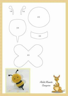 Easy Crafts For Friends - Summer Crafts For Kindergarteners Fun - Christmas Crafts For Kids At School Grandparents - Felt Animal Patterns, Felt Crafts Patterns, Applique Patterns, Stuffed Animal Patterns, Quiet Book Templates, Felt Templates, Motifs D'appliques, Bee Party, Bee Crafts