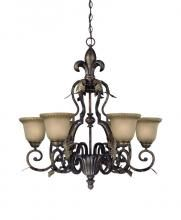 Jeremiah 25726-BBZ - Six Light Burleson Bronze Clear Etched Glass Up Chandelier