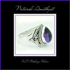 . NATURAL AMETHYST & 925 SOLID SS RING  BEAUTIFUL NATURAL AMETHYST RING Stone.                Amethyst Metal.                925 Solid Sterling Silver Stone Sz.          8 X 12mm Total Wt.            4.6gm RING Sz.           6.75 Beautiful and unique design. Actual photos (2 & 3 pictures) in different shades of light. Genuine Gemstone Jewelry Rings
