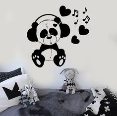 Vinyl Wall Decal Teddy Bear Music Kids Room Love Stickers Mural (ig3700)