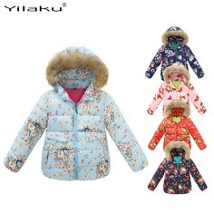 Fashion Girls Winter Coats For Girl Floral Hooded Coat 2017 New Children Girl Outwear Winter Clothes Kids Jackets CG197 CG200