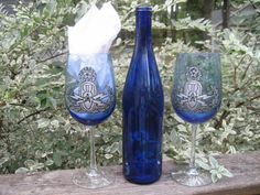 Pair of EOD master badge blue wine glasses hand painted Army Crafts, Blue Wine Glasses, Silver Paint, Give It To Me, How To Make, Badge, Initials, Hand Painted, Pairs