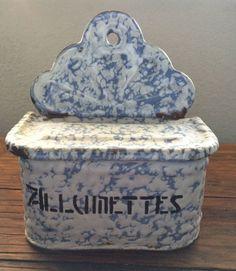 Vintage French Allumettes Matches Enameled Box Blue White Snow on Mountain | eBay