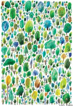 alovelycuppa: 500 Trees by Laura Hughes (See here for gif of the process!) She's selling giclée prints for email her at hug. Textile Patterns, Textile Prints, Print Patterns, Textiles, Pattern Texture, Surface Pattern Design, Tree Print, Pattern Illustration, Art Design