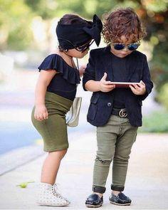 Stylish Little Boys, Cute Little Girls Outfits, Kids Outfits Girls, Cute Kids Fashion, Baby Girl Fashion, Child Fashion, Cute Baby Couple, Mode Swag, Baby Boy Dress