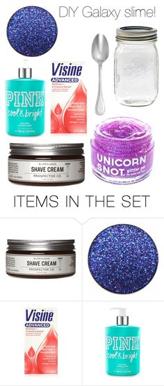 """DIY Galaxy slime!"" by puffinnh ❤ liked on Polyvore featuring art"