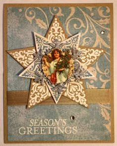 Christmas card by Laura Turner using Stampin Up stamps and dies and die-cit angel.