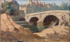 Pont Marie, Paris | From a unique collection of landscape paintings at https://www.1stdibs.com/art/paintings/landscape-paintings/