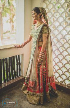 Real Indian Weddings - Vishal and Priyanka | WedMeGood | Priyanka wore Red and Green Lehenga with Gold Border and Cream Dupatta | This Wedding was shot by @lakshyac in Kenya! #wedmegood #weddings #bridal #lehenga