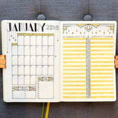 "475 Likes, 15 Comments - Nicole (@bujo_blossoms) on Instagram: ""January 2018! My first monthly of the year ✨ . A new year always makes me think of Art Deco, so…"""