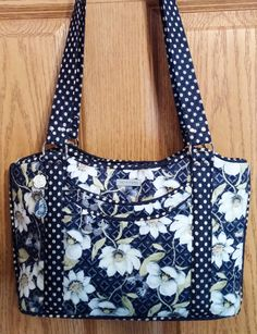 Blue and White Floral, Polka Dot Trim Sugar and Spice Purse - pinned by pin4etsy.com
