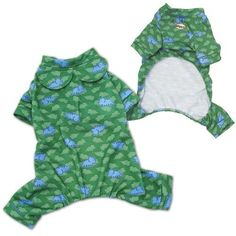Adorable pajamas made with soft polyester/cotton fabric, with dinosaurs & dinosaur silouette prints all over! Accented with two round collar flaps Puppies In Pajamas, Puppy Diapers, Designer Dog Clothes, Pet News, Dog Boutique, Puppy Clothes, Cool Pets, Dog Design, Fur Babies