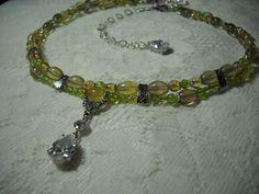 Peridot Citrine Yellow Fluorite Cubic Zirconia Sterling Silver Collar Necklace