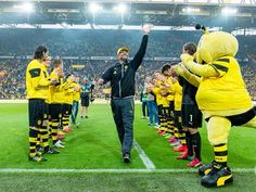 Jürgen Klopp also received a rapturous standing ovation and deafening cheers, as he bowed out in style with a victory in his final Bundesliga game with the Black Yellows.