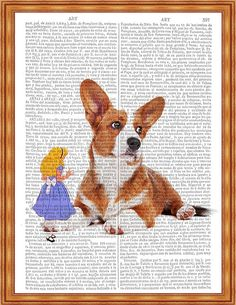 Digital download of Alice in Wonderland with dog Download is 8 x 10 but is available in any size that you prefer at no additional cost.  8 x 10