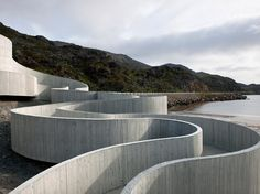 Selvika National Tourist Route | Finnmark, Norway | Reiulf Ramstad Arkitekter | 2012 | Curved form | Concrete | Texture | Print transfer | Landscape
