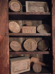 """A Collection of """"Wooden Butter Molds and Butter Stamps"""" Primitive Kitchen, Primitive Antiques, Wooden Kitchen, Country Primitive, Vintage Kitchen, Primitive Decor, Prim Decor, Country Decor, Rustic Decor"""