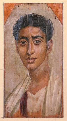 """Late 1st century AD Fayum encaustic of male; wood, wax, pigments.  The Walters Art Museum in Baltimore(Acc. 32.3).    Framed 20 1/16"""" high x 14 3/16 wide x 1 3/4"""" thich (51 x 36 x 4.5 cm); panel max. 15 1/2"""" h x 8 1/16"""" w (39.4 x 20.5 cm)"""