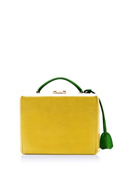 M'O Exclusive: Small Grace Trunk With Yellow Body And Green Handle In Saffiano Leather by Mark Cross - Moda Operandi