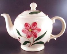 Shawnee Pottery Teapot Red Hand Painted Flower Green Leaves Vintage Mid Century picclick.com