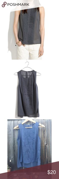 "MADEWELL sea gauze grey top SZ M MADEWELL sea gauze top grey SZ M armpit to armpit 19"" front pleats/ sheer back/ front length 20"" Madewell Tops Blouses"