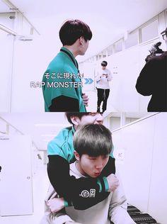 Namjoon gives a piggyback ride to Jungkook gif