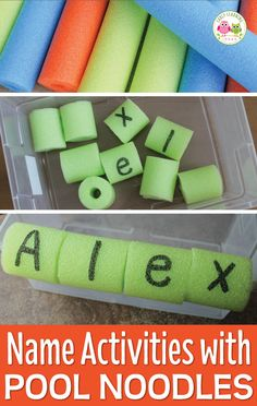 Use a simple pool noodle to make fun name activities for kids. Directions for assembly and ideas for additional literacy activities are included. Perfect to teach your preschool or pre-k age kids to spell their name or recognize their name. Pool Activities, Alphabet Activities, Educational Activities, Classroom Activities, Toddler Activities, Preschool Activities, Preschool Names, Preschool Learning, Early Learning
