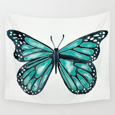 Turquoise Butterfly Wall Tapestry. #painting #watercolor #vintage #illustration #impressionism #butterfly #butterflies #bug #insect #beauty #nature #natural #fly #wing #wings
