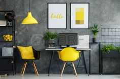 Buy Posters mock-up in study space by bialasiewicz on PhotoDune. Girl sitting at her desk in posters mock-up interior with study space and modern yellow chair Yellow Home Offices, Yellow Office, Grey Office, Industrial Furniture, Modern Furniture, Study Space, Concrete Wall, Office Interiors, Contemporary Interior
