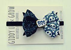 Halloween Glitter Bow Headband Jack Skellington by giddyupandgrow, $22.50