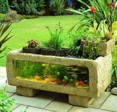 Outdoor aquarium planter