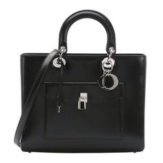 Christian Dior Black leather 'Lady Dior' convertible top handle bag (1.225.265 HUF) ❤ liked on Polyvore
