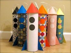 Set of 6 Rocket Goody Bag Can Space Treat Gift Container Birthday Sack Spaceship Goodie retro